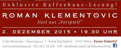 Exklusive Kaffeehaus-Lesung: Roman Klementovic