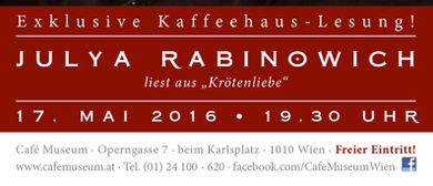 Exklusive Kaffeehaus-Lesung: Julya Rabinowich