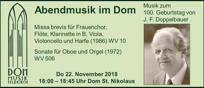 """November Abendmusik im Dom """"Rarität zum 100. Geburtstag"""""""