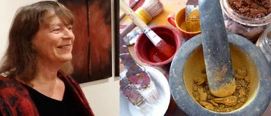 Malen mit Naturpigmenten in der Galerie Sandpeck Wien 8