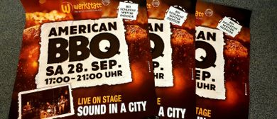 American BBQ-Event mit Live-Musik Sound in a city