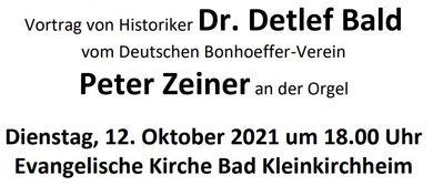 """Vortrag  """"Die Friedensethik Dietrich Bonhoeffers"""""""